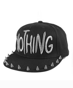Black Canvas Cap with Wide Spike Embellished Flat Brim and Stitched Letter