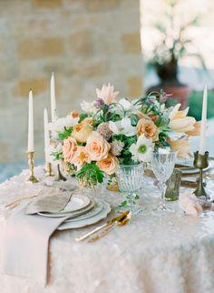 Sparkles and gold: http://www.stylemepretty.com/2014/05/16/a-monochromatic-inspired-wedding-shoot-part-ii/ | Photography: Carmen Santorelli - http://carmensantorellistudio.com/