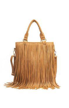 69070bfa86 Boho Hippie Chic Brown Khaki Fringe Tassel Single Strap Shoulder Bag  Boho