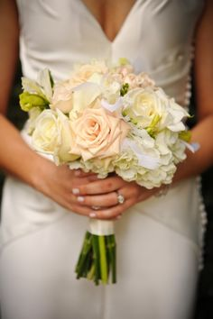 dainty and elegant soft white and blush bridal bouquet