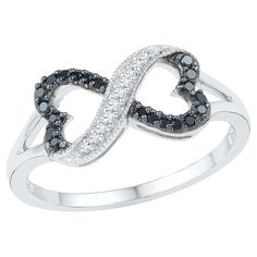 1/6 CT. T.W. Round Diamond Prong Set Infinity Fashion Ring in Sterling Silver - Black/White (4.5), Women's