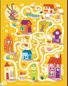 Easter Maze by Bora Mazes For Kids, Art For Kids, Crafts For Kids, Kindergarten Activities, Activities For Kids, Maze Worksheet, Worksheets, Printable Board Games, Magazines For Kids