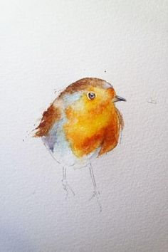 How to paint a robin in 8 easy steps. - How to paint a robin in 8 easy steps…. – watercolours by rachel - Watercolor Painting Techniques, Watercolor Projects, Easy Watercolor, Painting & Drawing, Watercolor Paintings, Painting Steps, Watercolor Tutorials, Watercolor Trees, Watercolor Portraits