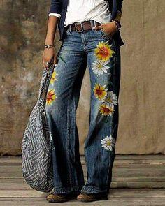 Vintage Pants, Vintage Denim, Vintage Floral, Loose Jeans, Loungewear Set, Leggings, Outerwear Women, Jumpsuits For Women, Blouse