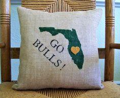 University of south Florida pillow, Graduations gift, bulls pillow, USF dorm room decor, Florida col