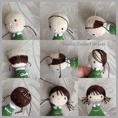 Resultado de imagen para como poner pelo a muñecas amigurumi