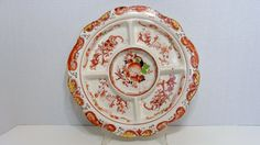 Vintage Takito Hand Painted Japan Divided Relish Tray Serving Platter Orange Peach Flowers