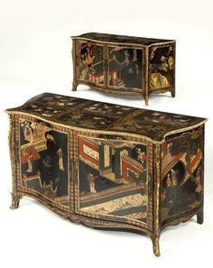 Pair of George 111 japanned Commodes  made Pierre Langlious   ( aka Peter Langley)  for the 1st Marquess of Hertford  ( 1719 -1794 )