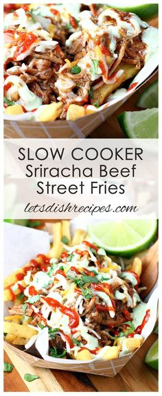 4 Points About Vintage And Standard Elizabethan Cooking Recipes! Slow Cooker Sriracha Beef Street Fries Recipe: Spicy Shredded Beef Is Served Over French Fries And Topped With A Creamy Cilantro Lime Dressing In This Homemade Take On Food Truck Fare. Taco Food Truck, Food Truck Menu, Best Food Trucks, Slow Cooker Recipes, Crockpot Recipes, Cooking Recipes, Steak Recipes, Shredded Beef Recipes, Shredded Beef Tacos
