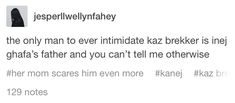 the only man to ever intimidate kaz brekker is inej ghafa's father and you can't tell me otherwise Crow Books, Ya Books, I Love Books, Book Nerd, Artist's Book, Kaz Brekker, Crooked Kingdom, The Grisha Trilogy, Six Of Crows