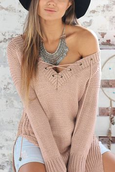 Sexy V-neck Front Lace-up Jumper