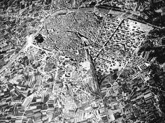 Fotografía aérea de la ciudad de Valencia. 1939. Archivo de José Huguet. 2017-Google Maps.