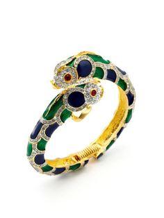 Kenneth Jay Lane Blue & Green Enamel Fish Bangle Bracelet