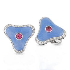 Faberge - Igor Cufflinks - 18-carat white gold with guilloché enamel, white diamonds and pink tourmalines.