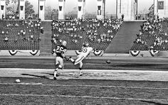 Jan. 15, 1967: The Green Bay Packers defeat the Kansas City Chiefs at the first Super Bowl. At the time, it was referred to as the First AFL-NFL World Championship Game or Supergame. And as the photo shows, the game was not sold out at the Los Angeles Memorial Coliseum.