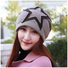 Star patch stocking cap for women warm beanie hats winter wear 7256345d6361