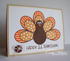 pieced paper tail feathers and google eyes make for a funny turkey... Thanksgiving card...