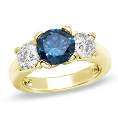 4 CT. T.W. Enhanced Blue and White Diamond Three Stone Engagement Ring in 14K Gold