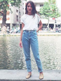 Jean Délavé Bleu Moyen à Taille Haute | Boutique en ligne American Apparel Canada