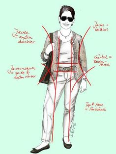 Die Farben und Silhouetten des Outfits sorgen für eine mittlere Farbsäule, eine äußere Taillierung plus Taillen-Akzent sowie eine insgesamt verschlankende Optik.