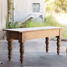 This primitive wood pine table table, featuring a natural wood finish with turned legs and a butcher block style, is perfect for adding a country farmhouse feel whether used as a dining room table or a kitchen island. Chinoiserie, Windsor, Park Hill Collection, Butcher Block Tables, Butcher Table, Pine Table, Farmhouse Table, Antique Farmhouse, Farmhouse Furniture