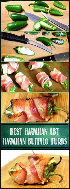 BEST ABTs - Hawaiian Atomic Buffalo Turds - Yes, TERRIBLE NAME but this Bar Snack will be the HIT of your backyard BBQ... OR, included are simple instructions for making this in a standard oven. BACON BACON BACON Wrapped Jalapeno peppers with PINEAPPLE CREAM CHEESE FILLING... YUM!!!
