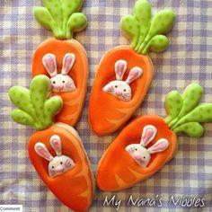 Yummy Carrot Cookies for Easter Fancy Cookies, Cute Cookies, Easter Cookies, Holiday Cookies, Carrot Cookies, Iced Cookies, Cookies Et Biscuits, Sugar Cookies, Galletas Cookies