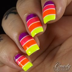 I'm SO honored to have Missy from Gnarly Gnails guest posting on my little blog! I found her blog even before I started mine, and I've always been really impressed with her work :D She recreated my neon striped gradient nails!