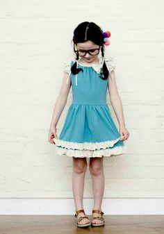 Little Duckling sweet bow and ruffle knitted dress in aqua for kids designer fashion summer 2013