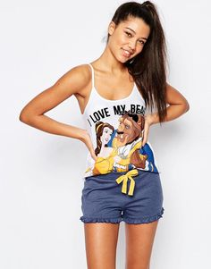Missimo | Missimo Disney Beauty & Beast Pyjama Shorts Set at ASOS 25