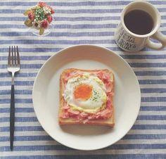 トースト卵とハム