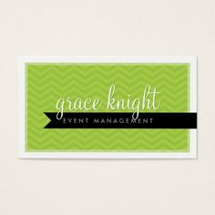 CORPORATE modern simple chevron bright lime green Business Card