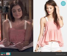 Aria's coral peplum tank top on Pretty Little Liars.  Outfit Details: http://wornontv.net/50096/ #PLL
