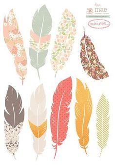 mini floating feather stickers printable // plumas imprimibles