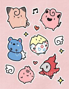 Fairy Pokemon Sticker Sheet by crowlines on Etsy