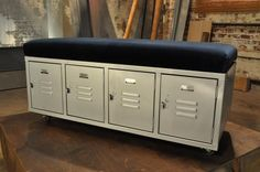 storage lockers turned into a seating bench: DIY Network