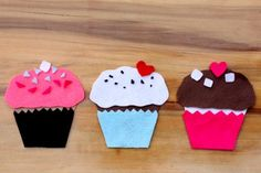 Felt Cupcakes - with template. For decorations you can make:        white squares for marshmallows      small pieces for sprinkles      red hearts for cherries      brown triangles for chocolate chips