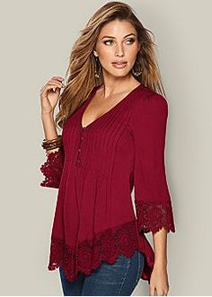 Lace Detail Button Up Top in Burnt OrangeMCCKLE 2017 Summer Women Blouses Elegant V-Neck Lace Patchwork Shirt Ladies Clothing Pleated Blouse Female Top For Women blusaLace Inset Button Up Top from VENUS women's swimwear and sexy clothing. Sexy Outfits, Fashion Outfits, Fashion Scarves, Dior Fashion, Discount Womens Clothing, Latest Fashion For Women, Womens Fashion, Ladies Fashion, Colored Skinny Jeans