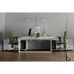 Bureau bench 2 personnes Star avec meubles de rangement – Mobel Linea.