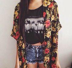 California cropped t shirt , floral kimono , denim shorts