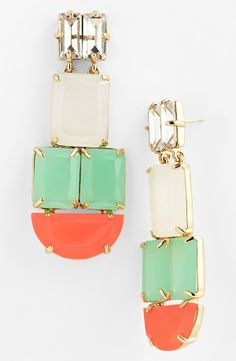 Dramatic coral and mint stone statement earrings for summer | Kate Spade