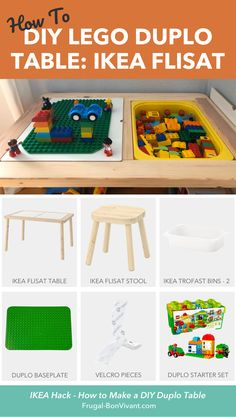 Here's an IKEA Hack on how to make a Duplo LEGO table with the IKEA Flisat table, baseplate and velcro. Great for toddlers, and easy to upgrade base later! Lego Duplo Table, Lego Table Ikea, Sensory Table, Sensory Bins, Ikea Trofast Bins, Trofast Hack, Ikea Train, Toy Barn, Green Toys