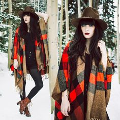 Rachel-Marie Iwanyszyn - Urban Outfitters Hat, Daily Look Cape, Wolverine Boots - THE CHILLS.