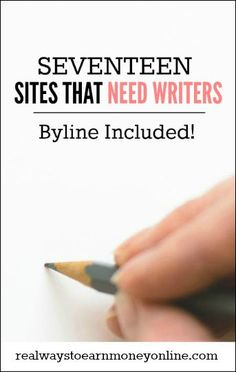 Earn Money From Home - Copy Paste Earn Money - Copy Paste Earn Money - Want to build up your writing portfolio? These 17 sites are looking for writers to pay now, plus they include your byline with your accepted content. via Real Ways to Earn Writing Sites, Online Writing Jobs, Freelance Writing Jobs, Book Writing Tips, Online Jobs, Online Income, Writing Images, Writing Resources, Online Earning