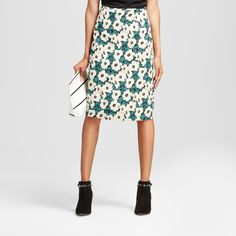 Women's Pleat Back Pencil Skirt Green Floral 10 - Who What Wear