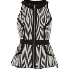 River Island Black fitted print peplum top ($56) ❤ liked on Polyvore featuring tops, black, peplum tops, women, river island, black top, black sleeveless top en pattern tops