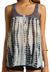 Free People Crochet Sheer Top BLUE & WHITE TIE DYE