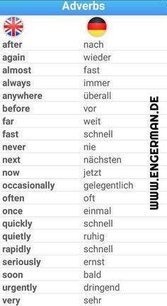 Adverbs English and German - Top-Trends Study German, German English, German Language Learning, Language Study, Spanish Language, French Language, Dual Language, German Grammar, German Words