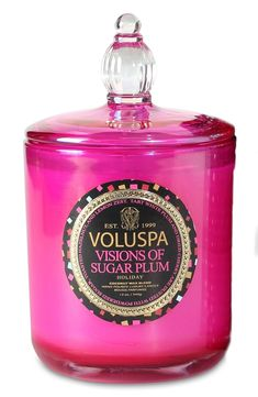 So pretty! Love the pink holiday packaging of this Voluspa decorative candle.