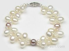 Double strand multicolour freshwater pearl bracelet